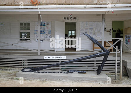 'Public Hall' and anchor from HMS Bounty, Pitcairn, Pitcairn Islands, South Pacific, November - Stock Photo