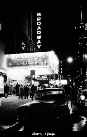 The Broadway Theater in New York USA 11th January 1964. Currently showing a comedy musical called The Girl Who Came - Stock Photo