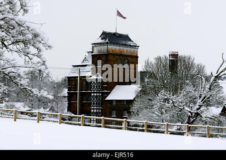 Hook Norton Brewery in the Snow - Stock Photo