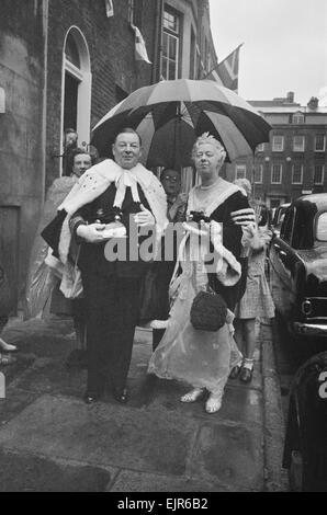 The Coronation of Queen Elizabeth II. Lord Gifford leaving for Westminster Abbey with his wife. 2nd June 1953. - Stock Photo