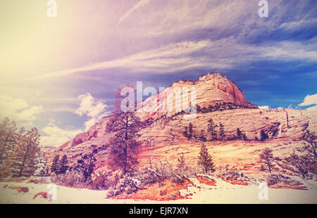Vintage stylized mountains in Zion National Park, Utah, USA. - Stock Photo
