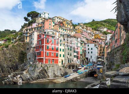 Riomaggiore clifftop village, Cinque Terre, UNESCO World Heritage Site, Liguria, Italy, Europe - Stock Photo