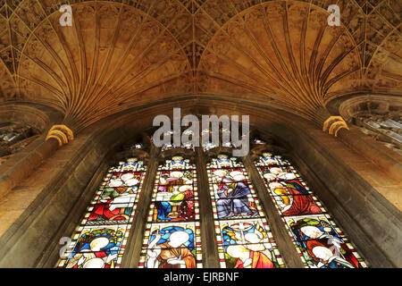 Fan vaulting on the ceiling of the cathedral in Peterborough, United Kingdom. The ceiling is within the cathedral's - Stock Photo
