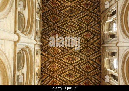 The ornate wooden ceiling of the nave in the Peterborough Cathedral, England. - Stock Photo