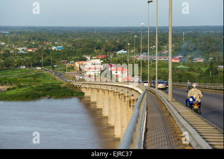 Jules Wijdenbosch Bridge over the Suriname River, Paramaribo, Suriname - Stock Photo
