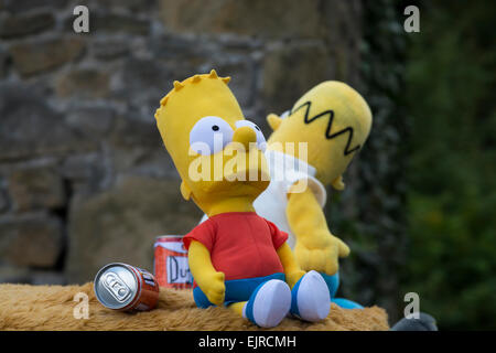 Bart  Simpson toy on float in the  annual Eyam carnival in Derbyshire Peak District England - Stock Photo