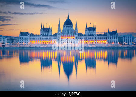 Budapest. Image of Hungarian parliament in Budapest during sunrise. - Stock Photo