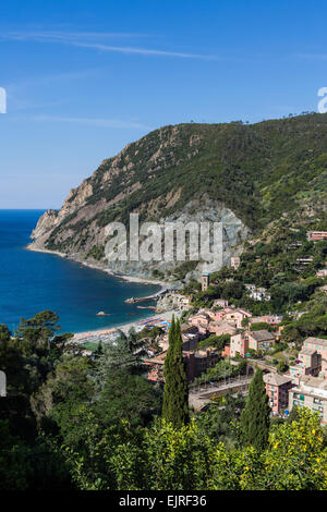 Elevated view over Monterosso al Mare, Cinque Terre, Liguria, Italy - Stock Photo