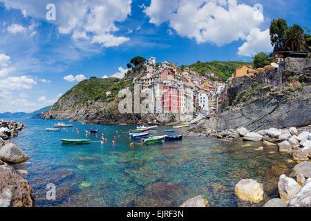 Riomaggiore clifftop village, Cinque Terre, Liguria, Italy, UNESCO World Heritage Site - Stock Photo