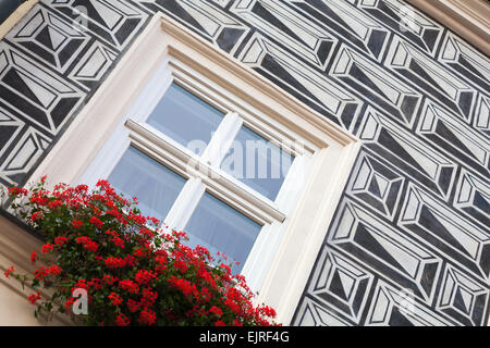 window box of red geraniums on house with sgraffito at Krakow, Poland in September - Stock Photo