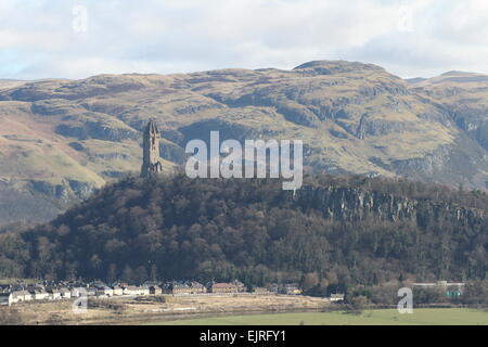 National Wallace Monument on Abbey Craig Stirling Scotland March 2015 - Stock Photo
