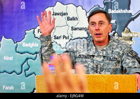 U.S. Army Gen. David H. Petraeus, commander of the International Security Assistance Force, speaks to U.S. and NATO - Stock Photo