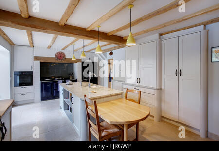 A traditional style kitchen inside a farmhouse in the UK. - Stock Photo