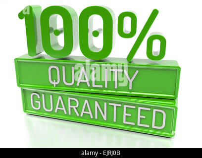 100% Quality Guaranteed, 100 percent, 3d banner - isolated, on white background. - Stock Photo