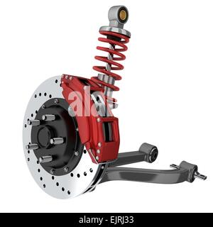 Car suspension and brake disk (done in 3d, isolated) - Stock Photo