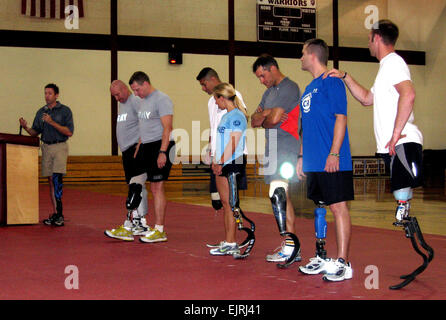 Brian Frasure, left, a clinical prosthetist and world-class athlete, speaks to the audience on the last day of the - Stock Photo