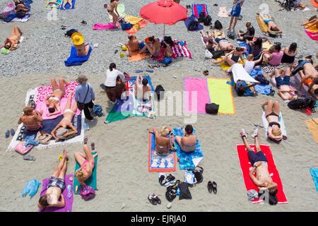 Colourful beach, Monterosso al Mare, Cinque Terre, Liguria, Italy - Stock Photo
