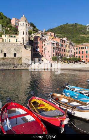 Vernazza, Cinque Terre, Liguria, Italy, fishing boats in harbour - Stock Photo