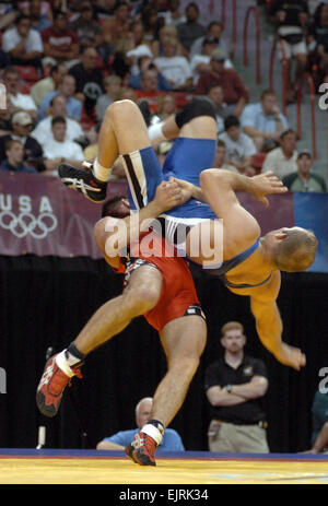 Army Wrestler Earns Greco-Roman Berth in Beijing Olympics  Tim Hipps June 23, 2008  In the final wrestling tournament - Stock Photo