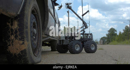 The MARCbot IV extends its camera nearly four feet in the air to search for suspected improvised explosive devices - Stock Photo