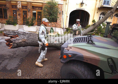 080901-A-0559K-006         U.S. Army soldiers patrol the streets of New Orleans, La., in support of Hurricane Gustav - Stock Photo