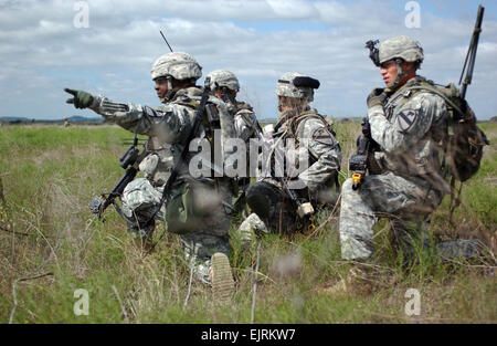 "During training, troopers from Company D, 2nd ""Lancers"" Battalion, 5th Cavalry, 1st ""Ironhorse"" - Stock Photo"
