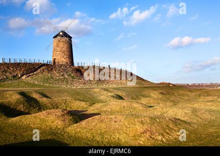St Monans Windmill and Salt Pans on the Fife Coast Path near St Monans East Neuk of Fife Scotland - Stock Photo