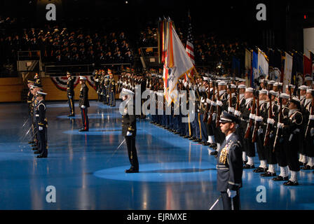 Members of the Joint Ceremonial Honor Guard and Joint Ceremonial Color Guard stand in formation during the Armed - Stock Photo