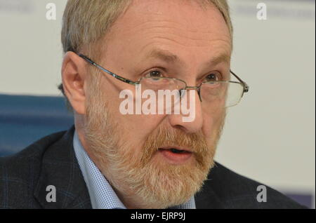 Moscow, Russia. 31st Mar, 2015. Alexander Oslon, president of the Public Opinion Foundation, attends a round table - Stock Photo