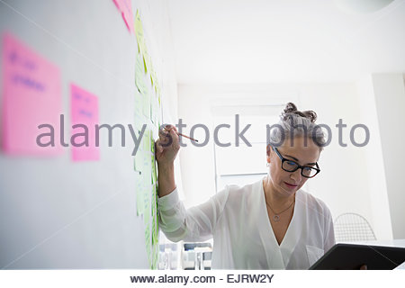 Businesswoman with digital tablet brainstorming - Stock Photo