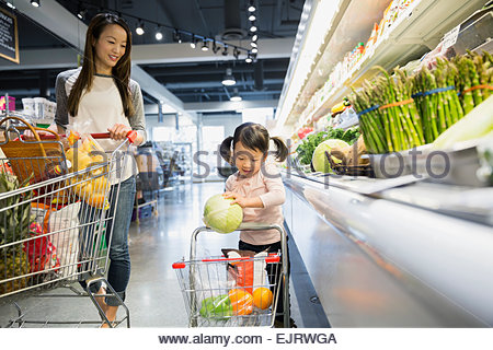 Mother watching daughter place melon in shopping cart - Stock Photo