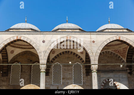 Courtyard of the mosque of Sultan Ahmed in Istanbul - Stock Photo