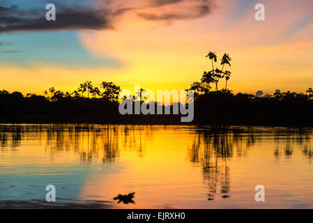 Colorful sunset deep in the Amazon Rainforest in Peru - Stock Photo