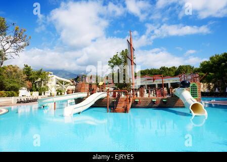 Waterpark at the luxury hotel antalya turkey stock photo for Piscine de luxe