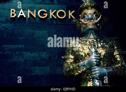 Traditional Thai culture in Sukhumvit in Bangkok in Thailand in Far East Southeast Asia. Statue Art Kitsch Oriental - Stock Photo