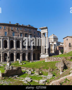 Rome, Italy.  The theatre of Marcellus, left, and the temple of Apollo, right. - Stock Photo