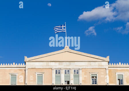A waxing gibbous moon above a greek flag that flies on a flagpole a waxing gibbous moon above a greek flag that flies on a flag pole above the sciox Image collections
