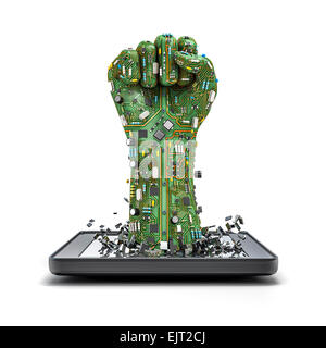 3D render of raised fist made of computer circuit board bursting from tablet computer - Stock Photo