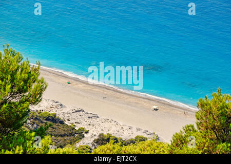 The beach Yialos in Lefkada, Greece - Stock Photo