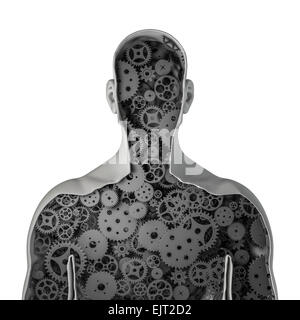 3D render of cross section of male figure showing clockwork cogs and gears inside