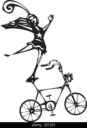 Woodcut style image of a circus performer balanced on a bicycle. - Stock Photo
