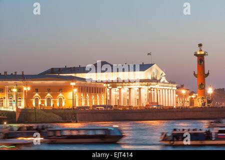 Old Saint Petersburg Stock Exchange and Rostral Columns - Stock Photo
