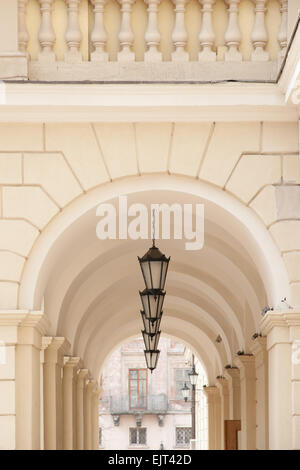 Arch passage of city hall on Market square. downtown Lviv, Ukraine - Stock Photo
