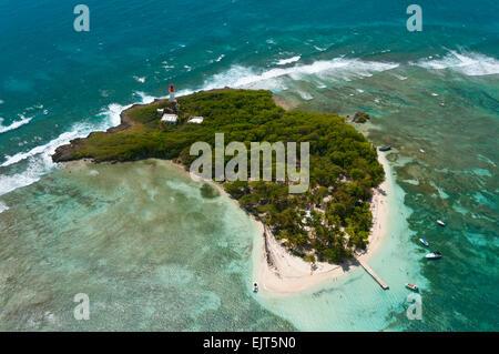 France. Guadeloupe, Le Gosier, Ilet du Gosier (aerial view)  // Guadeloupe, Le Gosier, Ilet du Gosier (vue aerienne) - Stock Photo