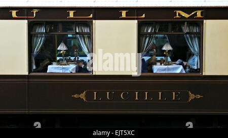 The Belmond British Pulman train carriage - sister train to the Venice Simplon Orient Express - Stock Photo