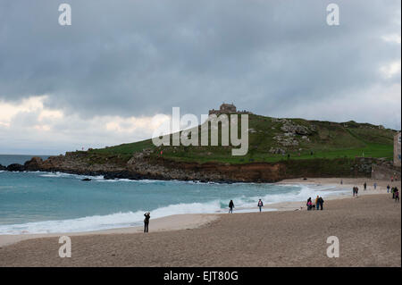 St. Ives Beach and The Island  Cornwall England UK Europe - Stock Photo