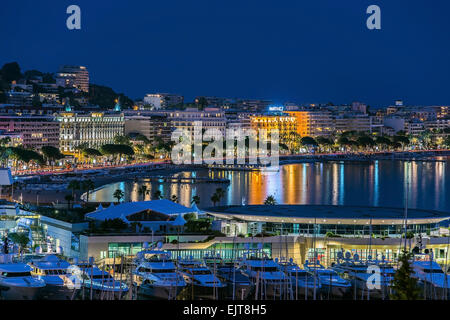 Cannes city  blue hour - Stock Photo