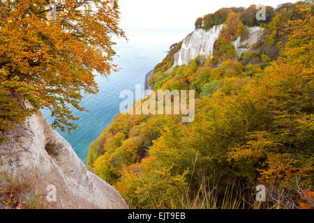 View from on top of the Koenigsstuhl (King's Chair), Stubbenkammer, Ruegen Island, Mecklenburg-Vorpommern, Germany. - Stock Photo