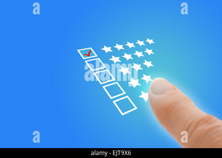 Online Survey with Finger Pointing at Excellent Tick - Stock Photo