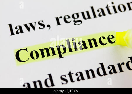Word Compliance with Highlighter - Stock Photo